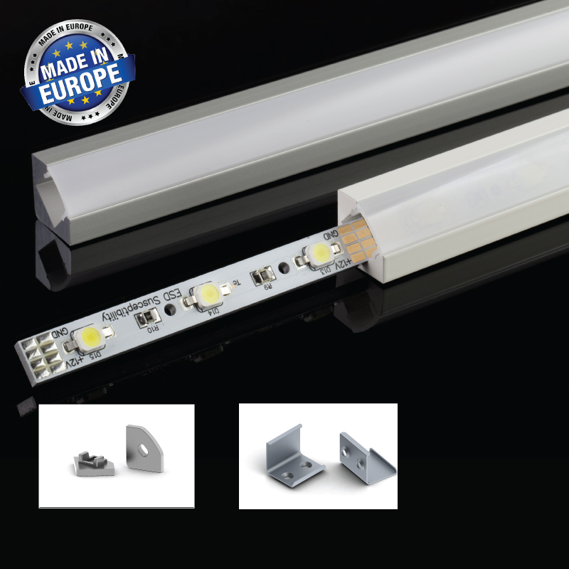 Aluminium LED-list 45°, 2 Meter