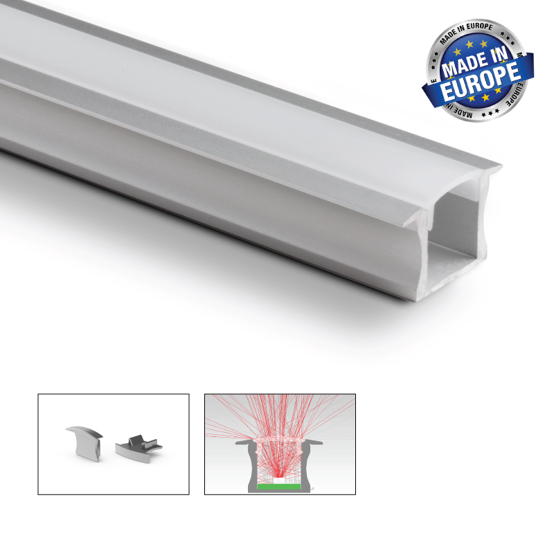 Strålande Aluminium LED-list infälld 15 mm, 2 meter - Led belysning - TEDSON ZT-93